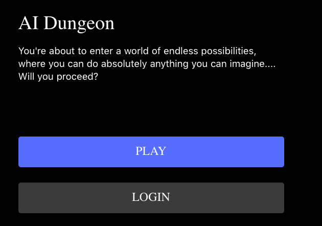 AI Dungeon Welcome Screen